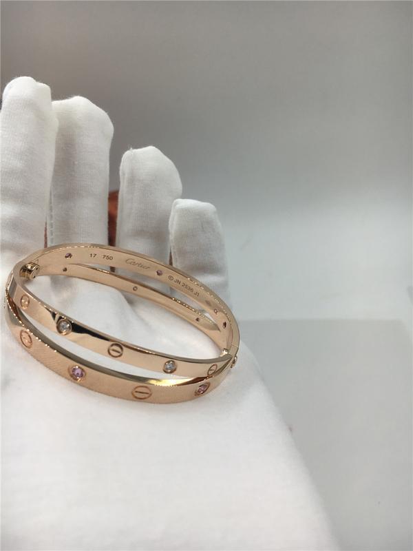 230beba2bfb6 Women S Rose Gold Luxury Diamond Jewelry Cartier Love Bracelet With Six Pink  Sapphires